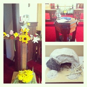 Easter Sunday! Flowers on the cross, the Baptismal Font (congratulations to our new brother and sister!), and the empty tomb!