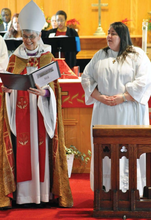 The Bishop and Sherry at the conclusion of the first hymn.